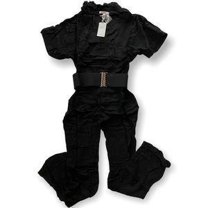 Lucy Paris Black Cotton Studded Belt Jumpsuit NWT